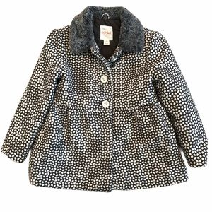 Cat And Jack 4T Gray Button Down Fur Collar Coat